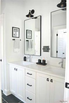 Shared Bathroom, Bathroom Kids, Bathroom Renos, Bathroom Black, Remodel Bathroom, Master Bathrooms, Bathroom Renovations, Black And White Bathroom Ideas, Modern Bathrooms