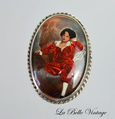 The Red Boy  Antique Sterling Silver Brooch  by labellevintage