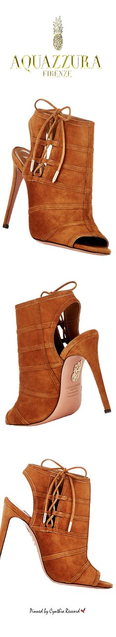 Aquazzura ~ Fall Cognac Suede Peep Toe Booties 2 015 | @ shoes ( booties )