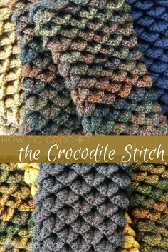 Crochet Tutorial Ideas How to Crochet the Crocodile Stitch (Video Tutorial) - SO easy! - The Crocodile Stitch: one of my favorite crochet stitches. This stitch consists of V- stitches, double or half double crochets and a chain. Picot Crochet, Crochet Crocodile Stitch, Tunisian Crochet, Crochet Yarn, How To Crochet, Things To Crochet, Crochet Afghans, Easy Crochet, Crochet Stitches Patterns