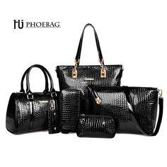 Wallmart.win HJPHOEBAG Fashion Crocodile Handbag PU Leather Bag Women Handbags Crossbody Bag Handbag+Messenger Bag+rse+Wallet 6 sets Z-0077…