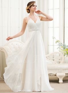 A-Line/Princess V-neck Sweep Train Chiffon Tulle Wedding Dress With Beading Sequins Cascading Ruffles (002054621) - DressFirst