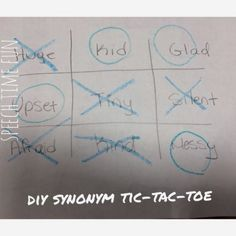 DIY Synonym Tic-Tac-Toe:  Learn about a low prep speech therapy idea using what you already have!