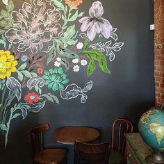 Beautiful wall art in a coffee shop!