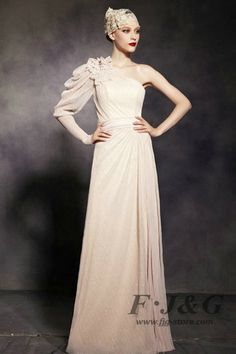 Apricot One Shoulder Long Sleeve Prom Dress 81920