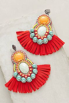 Awesome Bea Valdes Adecyn Drop Earrings - Women's Jewelry and Accessories-Women Fashion Red Earrings, Fringe Earrings, Fashion Earrings, Statement Earrings, Women's Earrings, Fashion Jewelry, Women Jewelry, Women's Fashion, Ideas Joyería