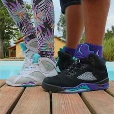 Neutral Grey/Mineral Blue/Bright Voilet 7s Black Grape 5s