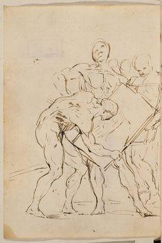 Francisco Goya - Escena con figuras masculinas desnudas (Cuaderno italiano, p. 164, 1771-1778 c.) Gesture Drawing, Guy Drawing, Drawing Artist, Drawing Poses, Life Drawing, Figure Drawing, Drawing Sketches, Painting & Drawing, Art Drawings