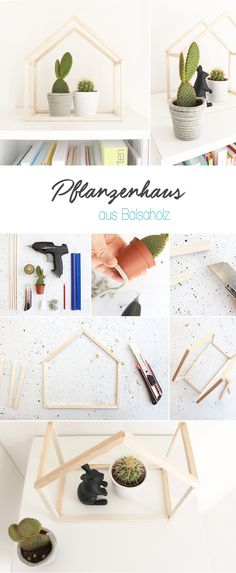 DIY, Gingered Things, Pflanzenhaus, Balsa, Holz, Kakteen, Display, Deko,