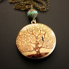Gustav Klimt Tree of Life Locket Necklace
