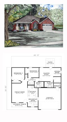 European House Plan 61281 | Total Living Area: 1214 sq. ft., 3 bedrooms and 2 bathrooms. #europeanhome