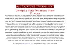 Descriptive Words for Winter | Descriptive Words List of Adjectives Word Reference