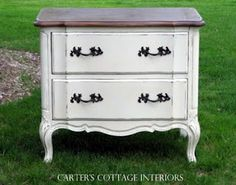 inspiration for re-finishing furniture. Stained top and painted and distressed white bottom