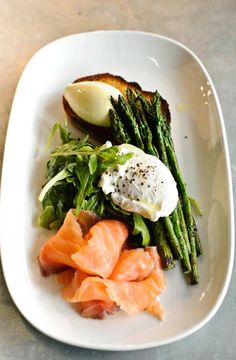 smoked salmon + asparagus + poached egg