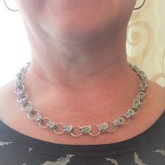 This is an 20 chainmaille necklace created with the Scherzo Weave using 12mm and 7.25mm aluminum rings.  **Chainmaille length, for the most part, can be adjusted. If you like this design but want it longer or shorter, please message me here on Etsy. I will get back to you and let you know what I can do.**  **************************************************************************************************************************************  I can do CUSTOM ORDERS. If you see a creation that…