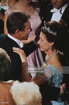 a newly acquired pin of Margaret wearing the Lotus tiara, with husband Tony Armstronge-Jones
