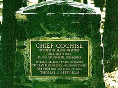 Memorial to Apache Warrior Chief Cochise - exact place of burial now unknown. Native American History, Native American Indians, Famous Tombstones, Arizona, Ranch Vacations, Cemetery Headstones, Famous Graves, Native Indian, Native Art