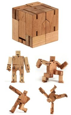 Wooden robot doll