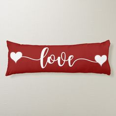 Beautiful giant long pillow with red background and heart shapes along with graphic typography that says Love. This pillow makes a great gift for the girlfriend, wife, boyfriend, or husband. Heart Day, Love Heart, Pillow Drawing, Cute Valentines Day Gifts, Long Pillow, Heart Pillow, Body Pillow Covers, Pillow Design, Hearts