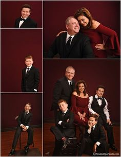 Black Tie and Burgundy for Formal Holiday Family Portraits Family Photo Studio, Studio Family Portraits, Family Reunion Photos, Family Photography, Portrait Photography, Family Potrait, Family Christmas Pictures, Family Picture Outfits, Portrait Poses