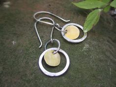 Dangly Mixed Metal Earrings, Sterling silver and Brass