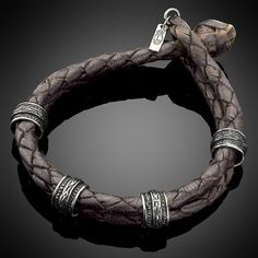 ef67a2e53a50 LAZARO SoHo Jewelry Leather Bracelet with 6 Silver Rondels