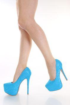 Turquoise Crochet Platform Pump Heels