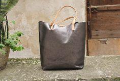 Handmade vintage Dark gray sliver leather normal tote bag shoulder bag | EverHandmade