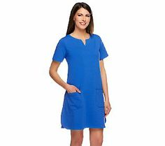 Susan Graver French Terry Short Sleeve Dress with Framed Neckline