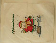 Counted Cross stitch Christmas Snowman snowball fight Handmade