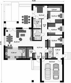 Beautiful House Plans, Beautiful Homes, Small House Plans, House Floor Plans, Architect House, Small House Design, Facade House, Design Case, Planer
