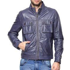 New Men's Genuine Lambskin leather Motorcycle jacket Slim fit Biker jacket Mens Blue Leather Jacket, Woolen Clothes, Leather Jackets Online, Motorcycle Jacket, Biker, Lambskin Leather, Fit, Sheep, Clothing