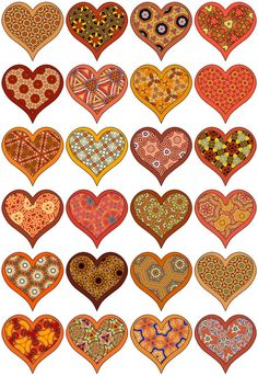 Little hearts on a digital collage sheet in shades of red and orange. ... Mostly shades ofOrange in this collection of 24 little symm...