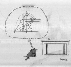 How Cats Approach A Pounce - Mathe Ideen 2020 Physics Jokes, Science Jokes, Physics Lab, I Love Math, Fun Math, Math Cats, Funny Images, Funny Pictures, Math Cartoons