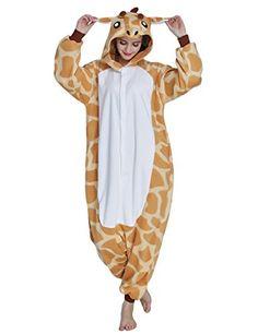 b7d27d924a KING FUN Unisex Adult Anime Cosplay Giraffe Onesies Pajamas Costumes  Sleepwear Large A4 -- Want