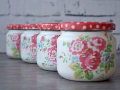 Mason jars - set of four - shabby - romantic - vintage - cottage - Cath Kidston style - flowers Can Storage, Storage Caddy, Shabby Vintage, Etsy Vintage, Red Mason Jars, Recycle Cans, Apothecary Jars, Cath Kidston, Handmade Accessories