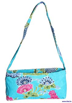 Blues Who Bag - Bright Color Printed Cotton Bag, Hand Embroidered Flower Detailing In The Front, Nickel Fastening, Secured Body through Zip Mouth Opening, Zipped Compartments in the Lining. Cotton Bag, Embroidered Flowers, Printed Cotton, Clutches, Blues, Bright, Shoulder Bag, Handbags, Zip