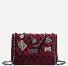Quilted Patchwork Crossbody Boy Purse w/ Chain Maroon