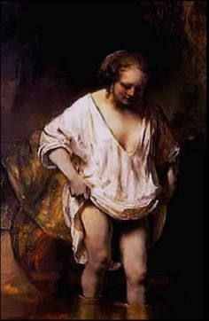 Rembrandt, A Woman Bathing in a Stream (Hendrickje Stoffels?), oil on panel, 1654 (London: National Gallery). Included in room 5 ('Intimacy') of the exhibition Rembrandt: The Late Works (Fall Painter, Dutch Painters, Art Reproductions, Caravaggio, Dutch Artists, Painting Reproductions, Art, Rembrandt Art, Art History