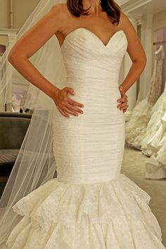 Season 14 Featured Dress: Dennis Basso. Sweetheart neckline, ruched on the top, flowy horse hair bottom. $5200 Style #14043