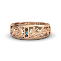 Round London Blue Topaz 14K Rose Gold Ring with Black Diamond | Venus Band | Gemvara