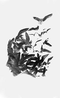 Love the bird series of Aneta Ivanova's double exposure works.