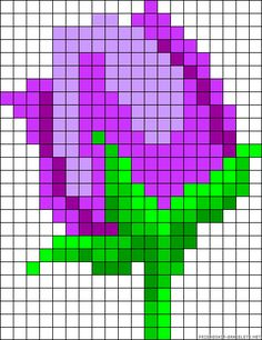 Tulip perler bea d pattern Cross Stitch Cards, Cross Stitch Flowers, Cross Stitching, Cross Stitch Embroidery, Hama Beads Patterns, Beading Patterns, Cross Stitch Designs, Cross Stitch Patterns, Modele Pixel Art