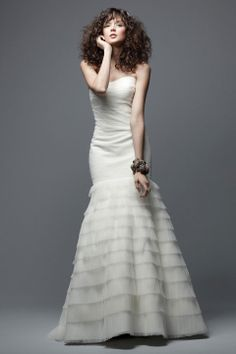Strapless trumpet / mermaid tulle bridal gown