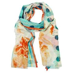 Check out this item at One Kings Lane! Floral Dot Scarf, Coral/Aqua