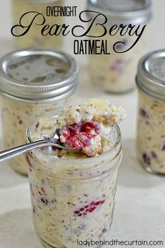 Overnight Pear Berry Oatmeal | The perfect fresh and creamy breakfast. This overnight oatmeal is packed with crisp delicious pears and raspberries.