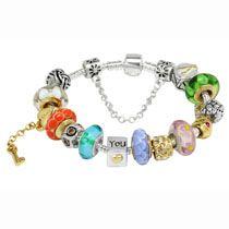 Colorful murano glass beads gold key pendant charm beads European bracelet