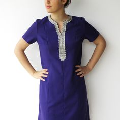 Vintage 1970s Purple and Silver Embroidery Dress