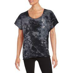 Lvr Tie Dye Shirt ($55) ❤ liked on Polyvore featuring tops, black, off the shoulder tops, off shoulder shirt, tie dye shirts, tie dye tops and cap sleeve shirt