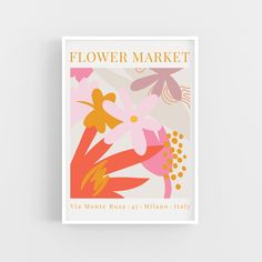 Read the full title Flower Market Poster, Retro Minimalist, Flower Market Art Print, Flower Poster, Flower Wall Decor, Spring Gallery Wall Decor